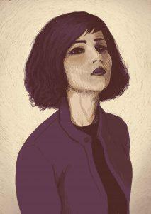 Portrait of a young woman – Digital Illustration Portrait of Olivia Merilahti, a Finnish-French singer and composer. Digital Illustration