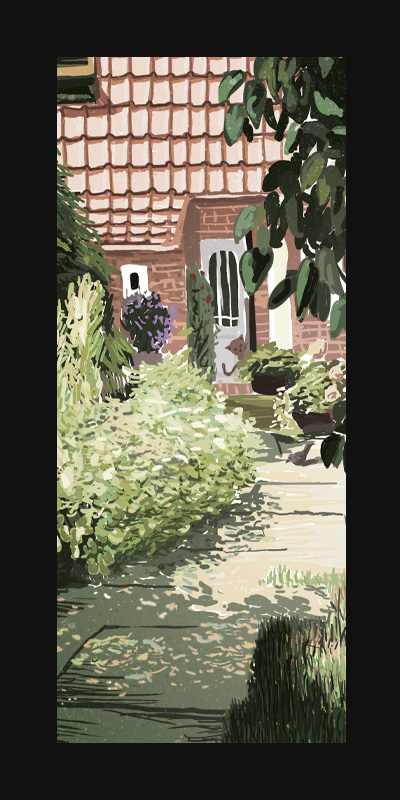 Garden 2 – Digital Illustration. A garden in summertime, where every plant stands in its full beauty. The shadows playing on the ground.