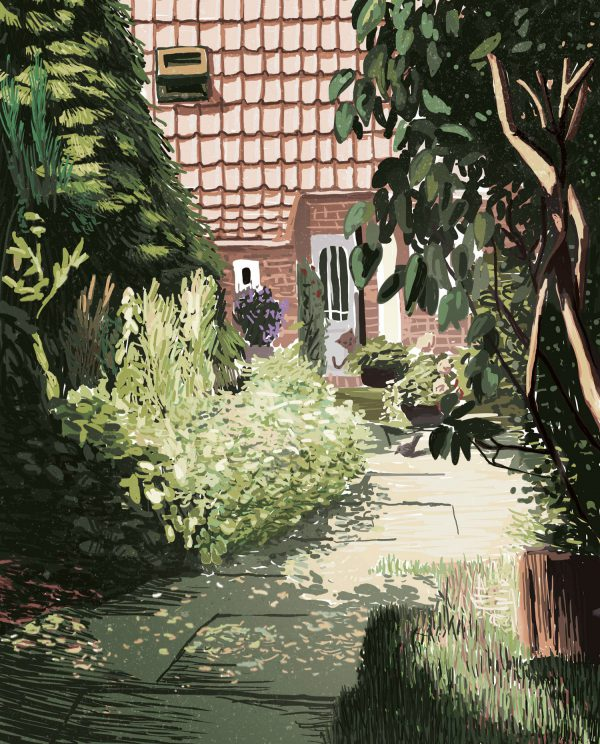 Garden 2 – Digital Illustration. A garden in summertime, where every plant stands in its full beauty. The shadows playing on the ground. Garden 2 – limited Fine Art Print