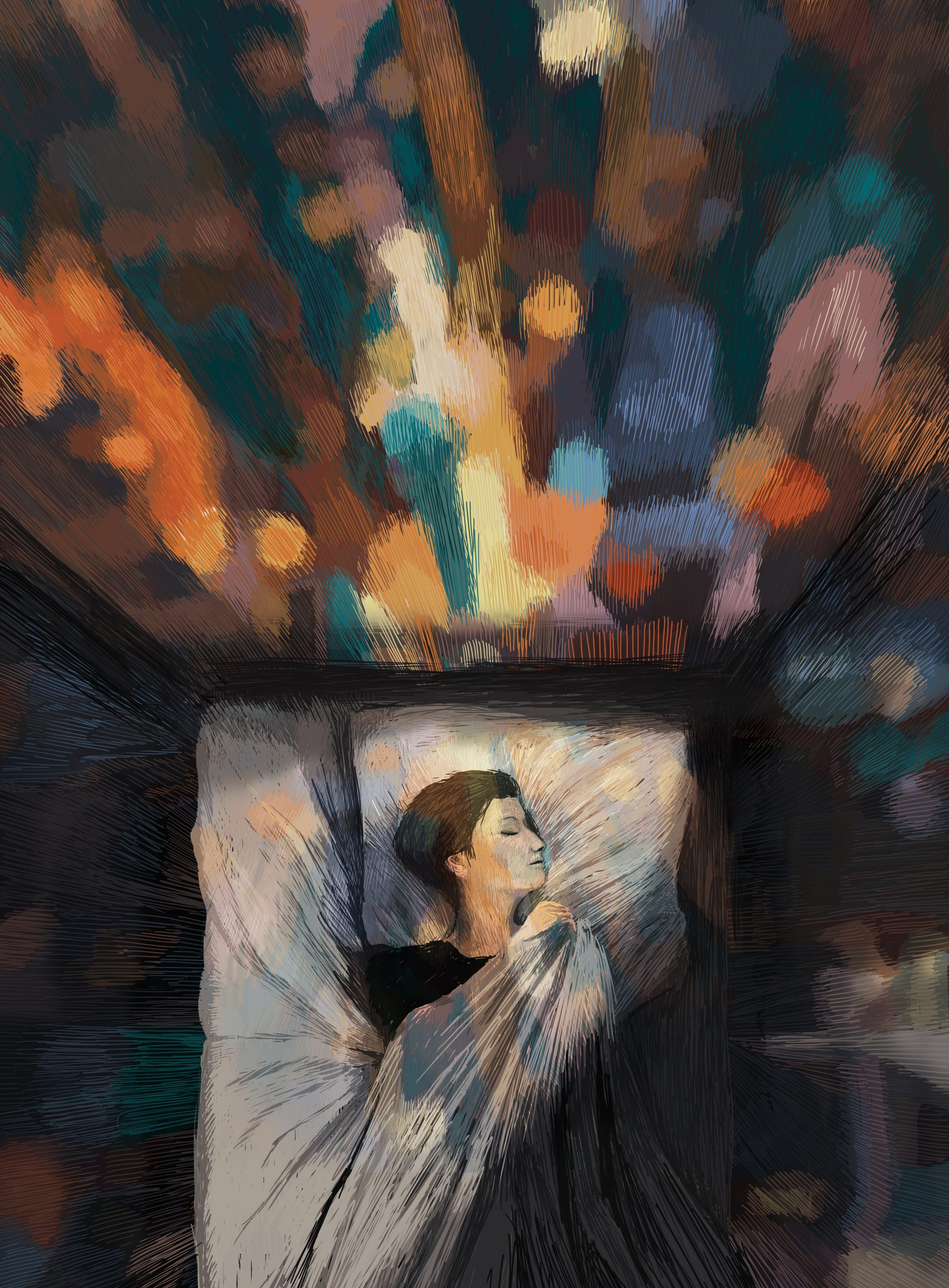 The Trick – A Poem by Imtiaz Dharker about the feeling of love and the imagination in the sleep, when the loved one is absent. The Trick – Digital Illustration. The Trick – limited Fine Art Print