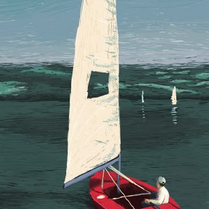 Sailing – Digital Illustration. A man is sailing on lake on a bright red yawl. The Sky is clear blue. There are just a few boats on the almost quiet water. Sailing – limited Fine Art Print