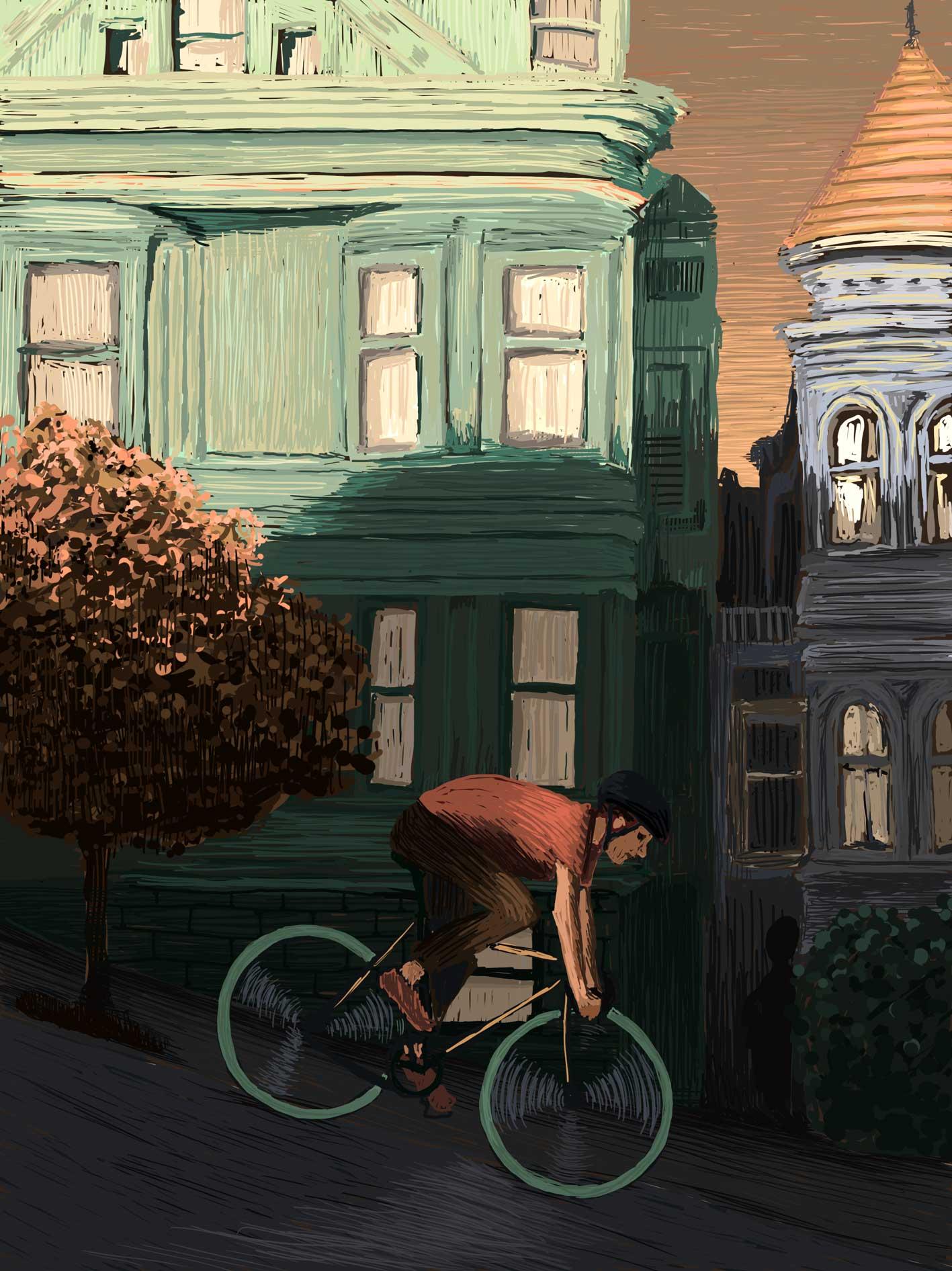 San-Francisco Bike Ride – Digital Illustration. A Cyclist rolling downhill in San Francisco. San-Francisco Bike Ride – limited Fine Art Print