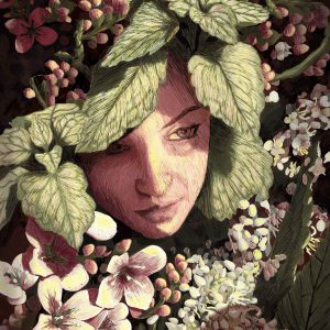 Portrait of a young woman enjoying and completing the beauty of spring. Flower Girl – limited Fine Art Print, Flower Girl – Digital Illustration