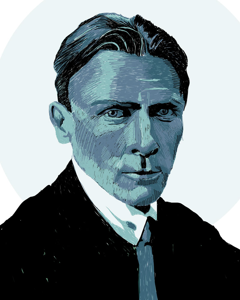 "Portrait of Russian writer, medical doctor and playwright active in the first half of the 20th century Michail Bulgakov, best known for his novel ""The Master and Margarita"", which has been called one of the masterpieces of the 20th century."