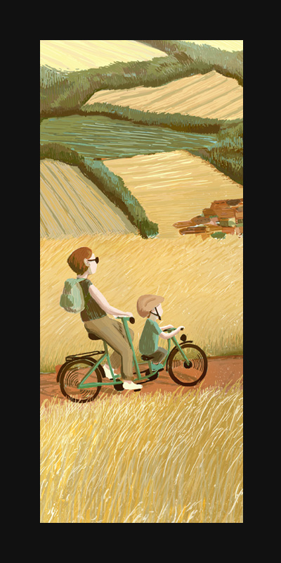Tandem – Digital Illustration, 2019. Fields in late summert, yellow and rich, right before the harvest. A mother and her son ride a tandem through the countryside.