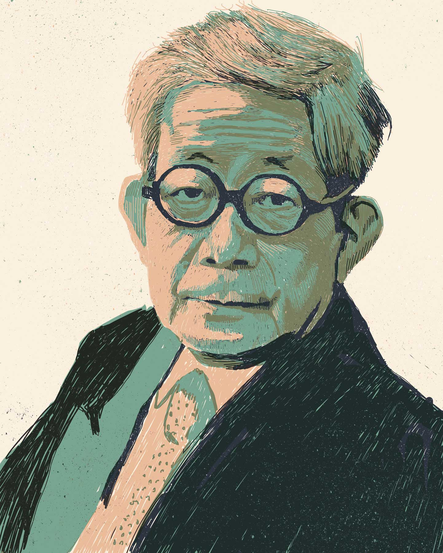 Portrait of nobelprize winning Japanese writer Kenzaburō Ōe. His novels, short stories and essays deal with political, social and philosophical issues, including nuclear weapons, nuclear power, social non-conformism, and existentialism. Digital Illustration
