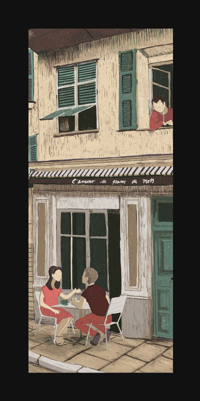 Love, series – Digital Illustration Couples fight everywhere in the world. Here inside a beautiful Japanese house with shadows playing on the ground, in the winter holiday during a lift ride and outside a French café.