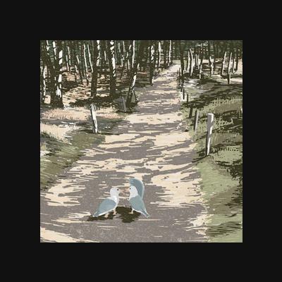 Seagulls Walk – Digital Illustration. Two seagulls taking a walk through the beautiful dunes at the North Sea. limited Fine Art Print