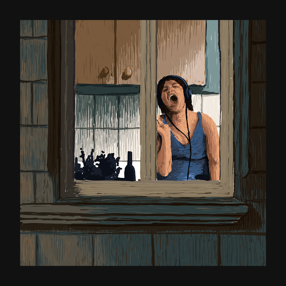 A Good Song – Digital Illustration 2020 A capture of a moment of intimacy and privacy. A woman sings her favorite song in her kitchen for everybody to see from outside.