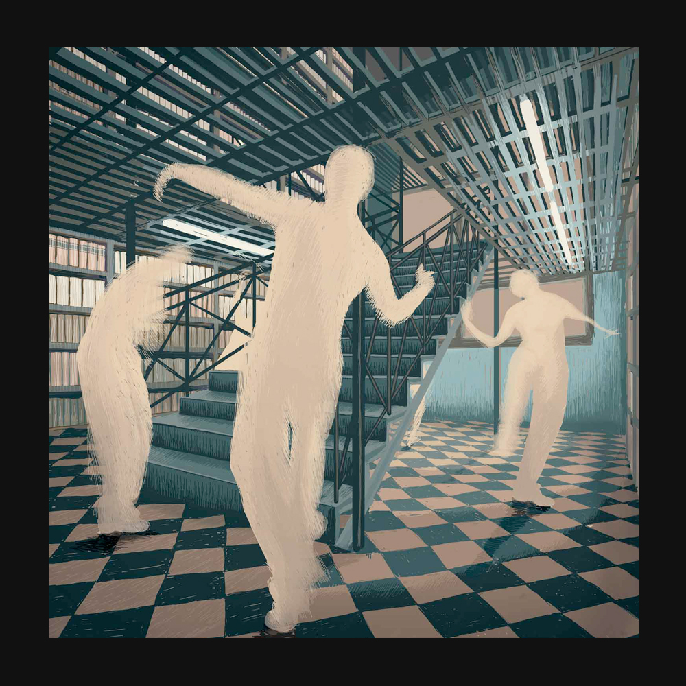 Dancing in the Library – Digital Illustration. A group of dancers perform inside a very old library.