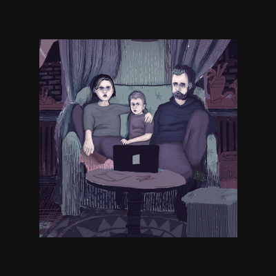 Watching – Digital Illustration. A Family watching something on a netbook. The Only source of light is the screen.