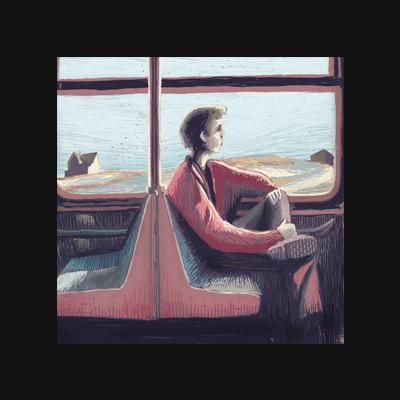 Tramride – Digital Illustration. A man inside a Train. Outside is a Edward Hopper inspired landscape.