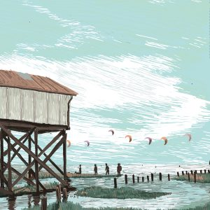 In times, where travel is rather difficult, people choose a destination closer by. Here is some beautiful German destination – the North Sea – Digital Illustration North Sea –limited Fine Art Print
