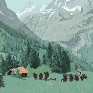 Queuing in the Alpes – Digital Illustration. In times, where travel is rather difficult, people choose a destination closer by. Here is some beautiful German destination The Alpes. Queuing in the Alpes – limited Fine Art Print